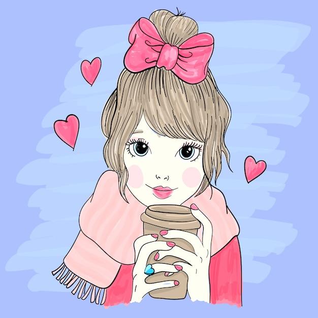 Hand drawn little girl illustration Premium Vector