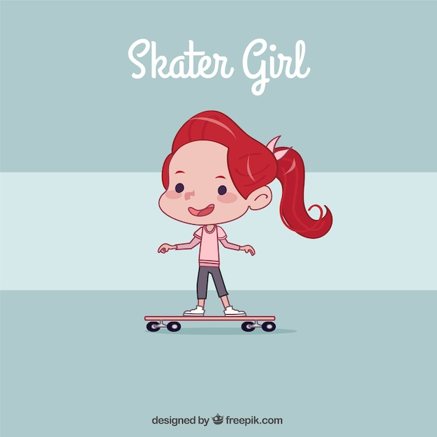 Hand drawn little girl with skateboard\ background