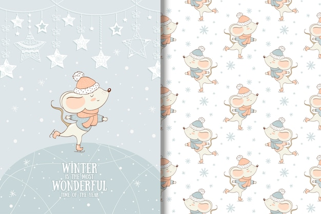 Hand drawn little mouse christmas illustration. winter animal seamless pattern Premium Vector