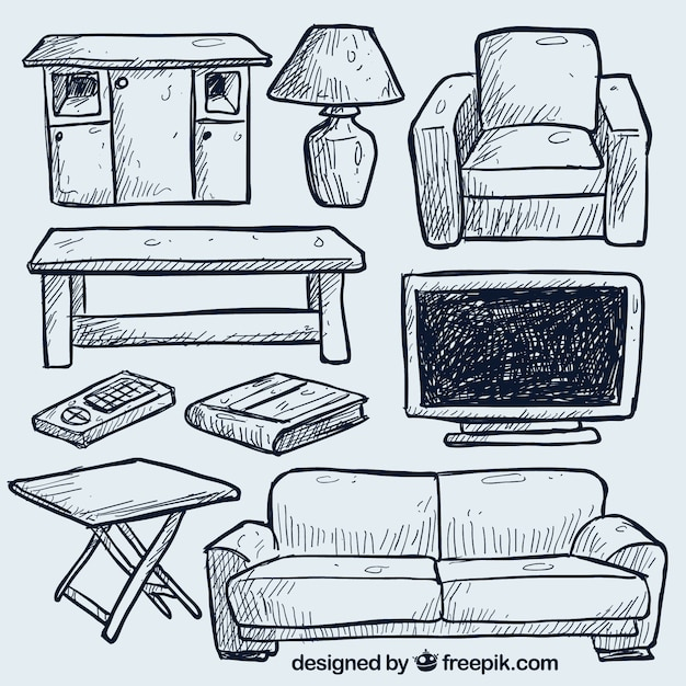 Premium Vector Hand Drawn Living Room Furniture