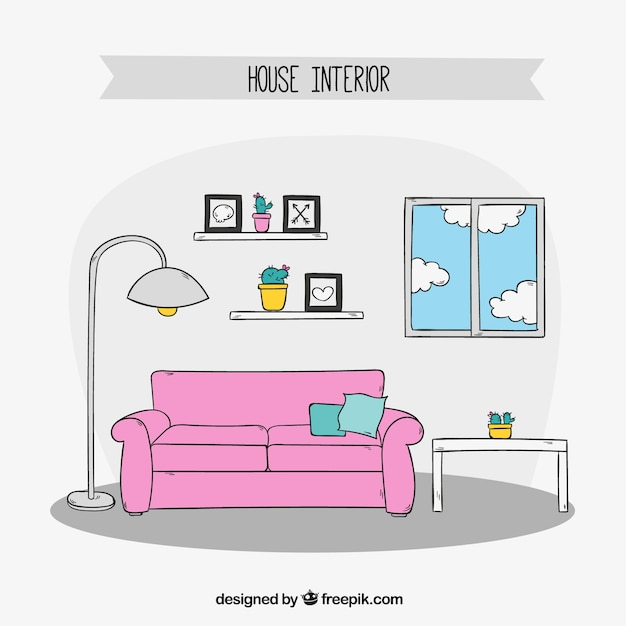 Hand-drawn Living Room Furniture Vector