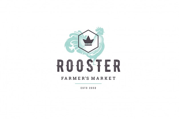 Hand drawn logo poultry rooster silhouette and modern vintage typography retro style vector illustration. Premium Vector