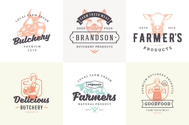 Вручите вычерченные животноводческие фермы логотипов и ярлыков с современной винтажной иллюстрацией вектора стиля оформления нарисованной рукой установленной. Premium векторы