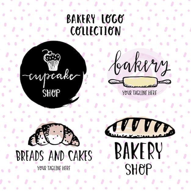 Hand drawn logos for a bakery Free Vector