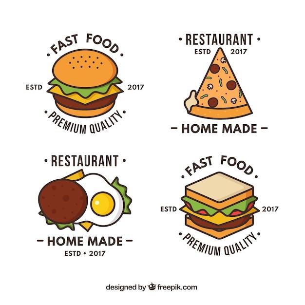 Hand drawn logos for fast food restaurants