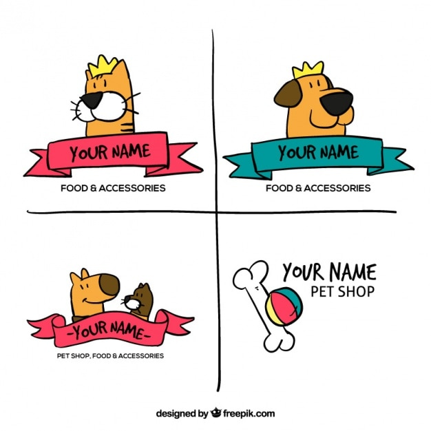 Hand-drawn logos for a pet shop Free Vector