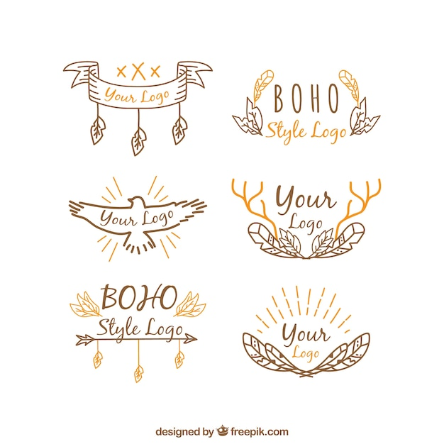 Hand drawn logos with orange details in boho style free vector