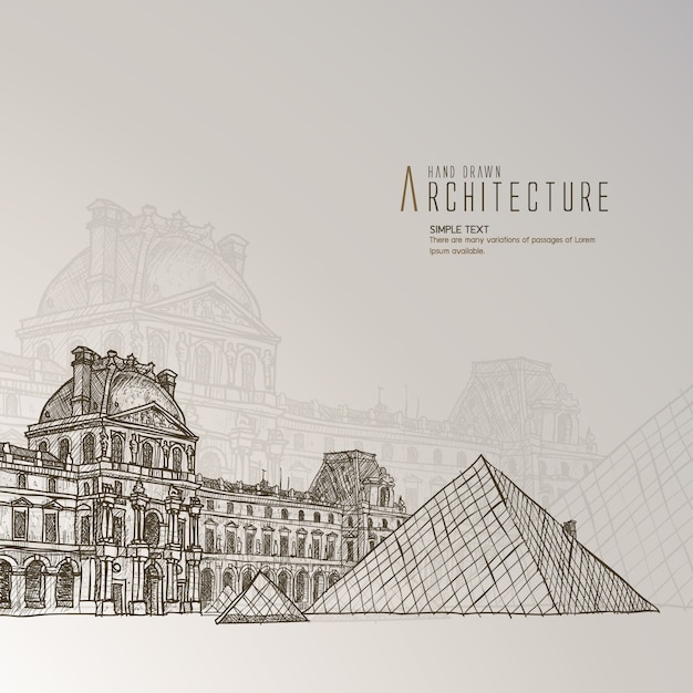 Hand drawn louvre museum Free Vector
