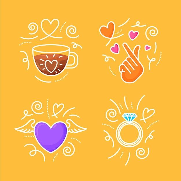 手描きの愛の落書きセット Premiumベクター