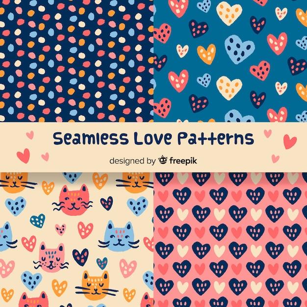 Hand drawn love patterns Free Vector