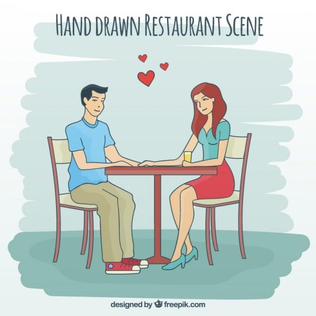 Hand drawn love scene in a restaurant
