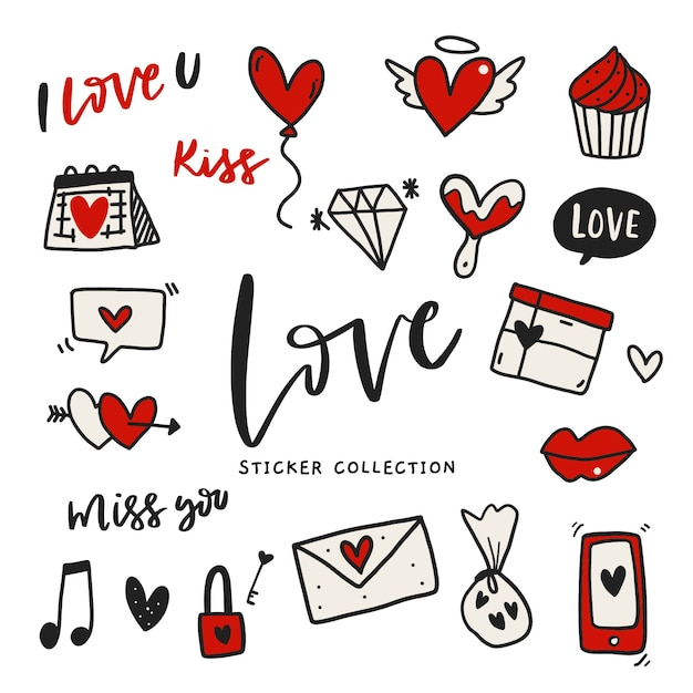 Hand drawn love sticker-label set Premium Vector