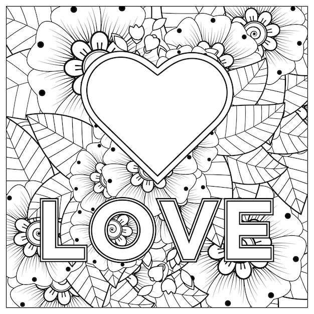 一時的な刺青の花と手描きの愛。手描きイラストの概要を説明します。 Premiumベクター