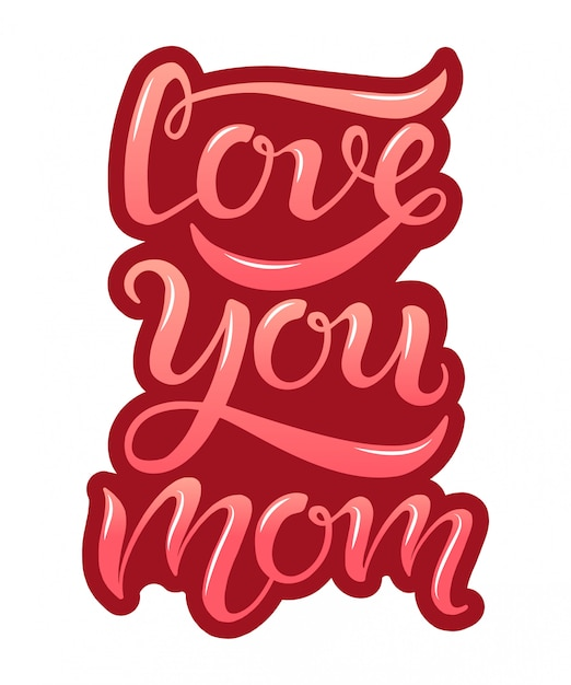 Hand drawn love you mom typography lettering poster on burgundy background Premium Vector