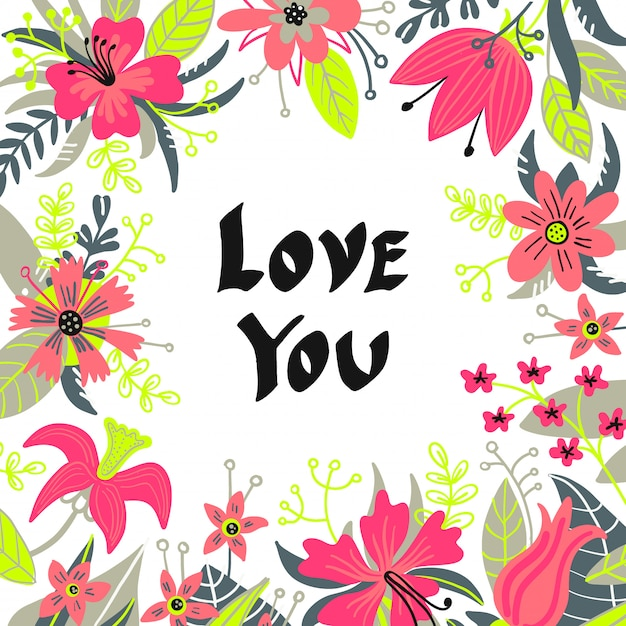 Hand drawn love you typography lettering poster, card, illustration Premium Vector