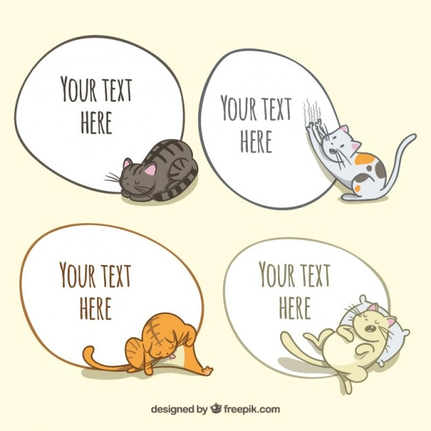 Hand drawn lovely cats with speech bubbles Free Vector