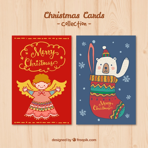 Hand drawn lovely christmas card vector free download hand drawn lovely christmas card free vector m4hsunfo