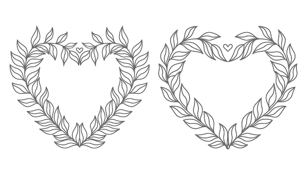 Hand drawn lovely and decorative minimal floral heart illustration Premium Vector