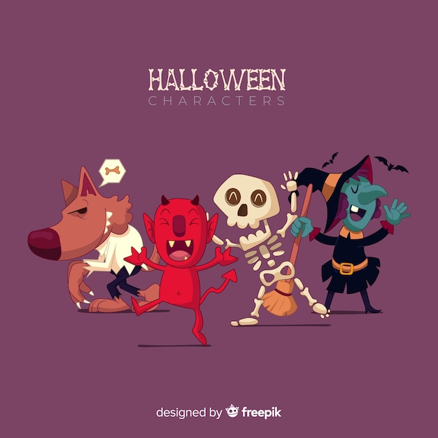 Hand drawn lovely halloween character collection Free Vector