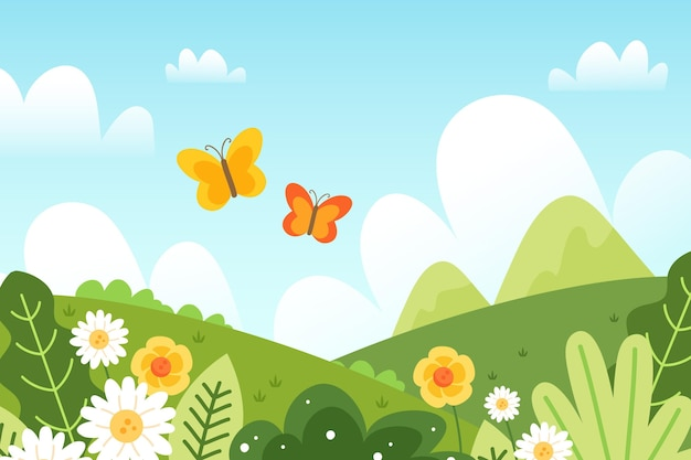 Hand drawn lovely spring landscape Free Vector