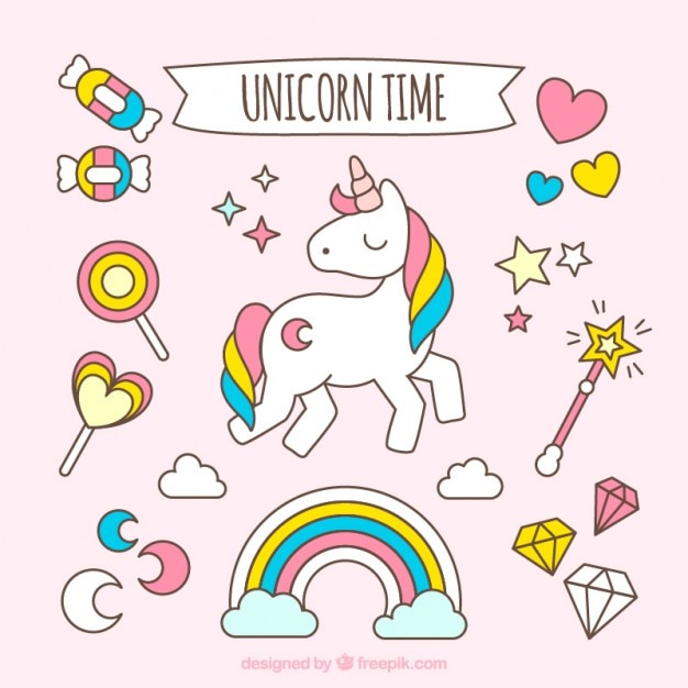 Hand drawn lovely unicorn with accessories Free Vector