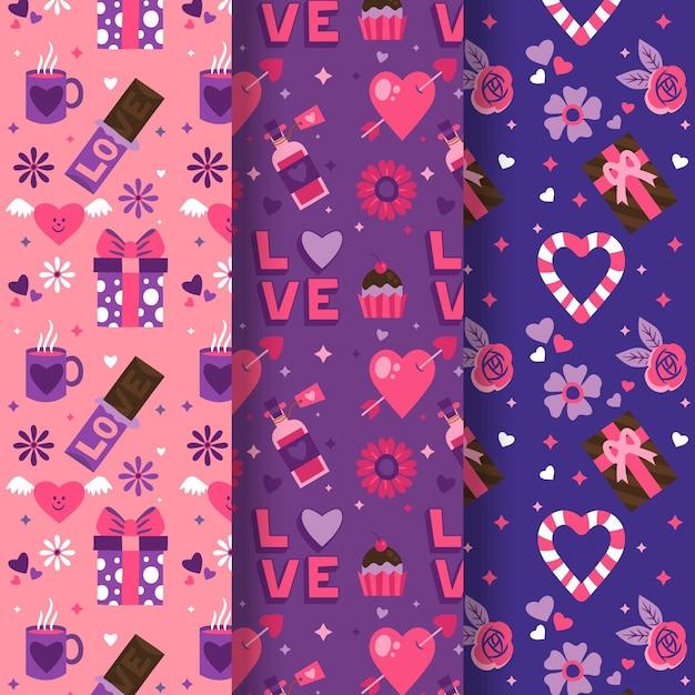 손으로 그린 사랑스러운 발렌타인 패턴 컬렉션 무료 벡터