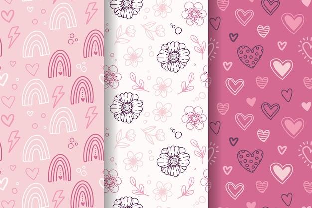 손으로 그린 사랑스러운 발렌타인 패턴 세트 무료 벡터