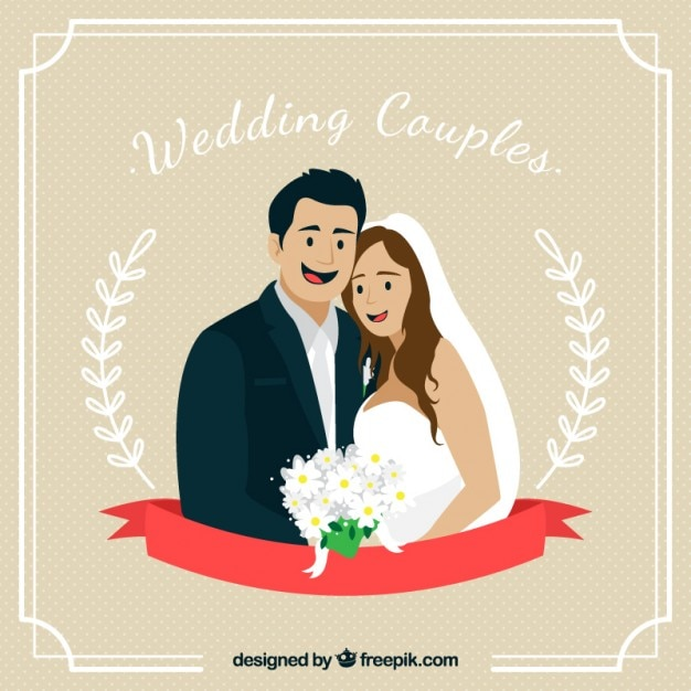 Hand drawn lovely wedding couple in love card Free Vector