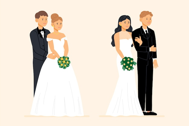 Hand drawn lovely wedding couples Free Vector