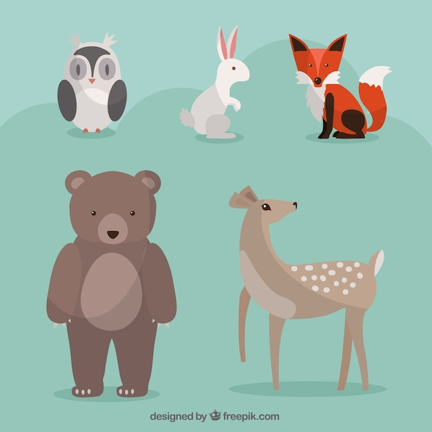 Hand drawn lovely wild animals set