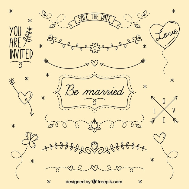 Hand drawn lovley borders  Free Vector
