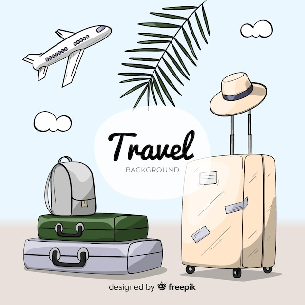 Hand drawn luggage travel background Free Vector