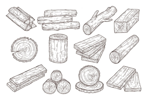 Hand drawn lumber. sketch wood logs, trunk and planks. stacked tree branches, forestry construction material vintage vector set. Premium Vector
