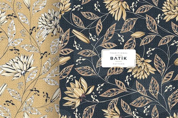 Hand drawn luxury batik seamless pattern