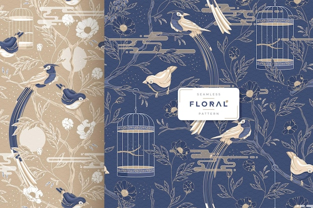 Hand drawn luxury birds and floral seamless pattern