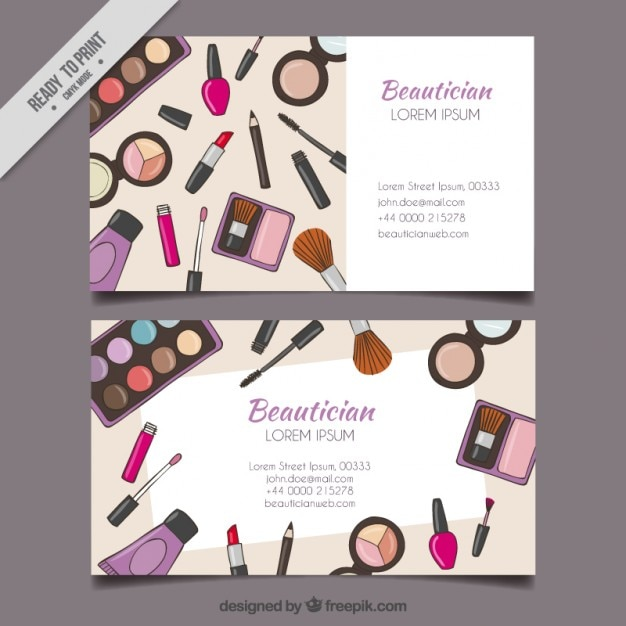 Hand drawn make up tools beautician card Free Vector