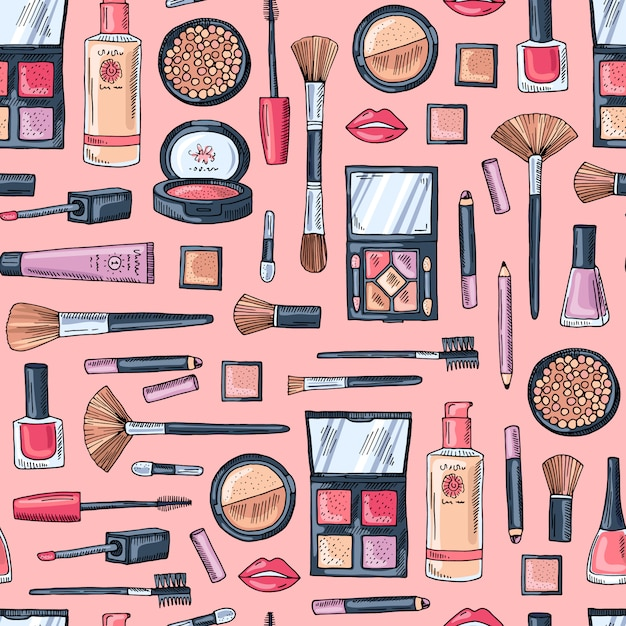 Hand drawn makeup products pattern Premium Vector