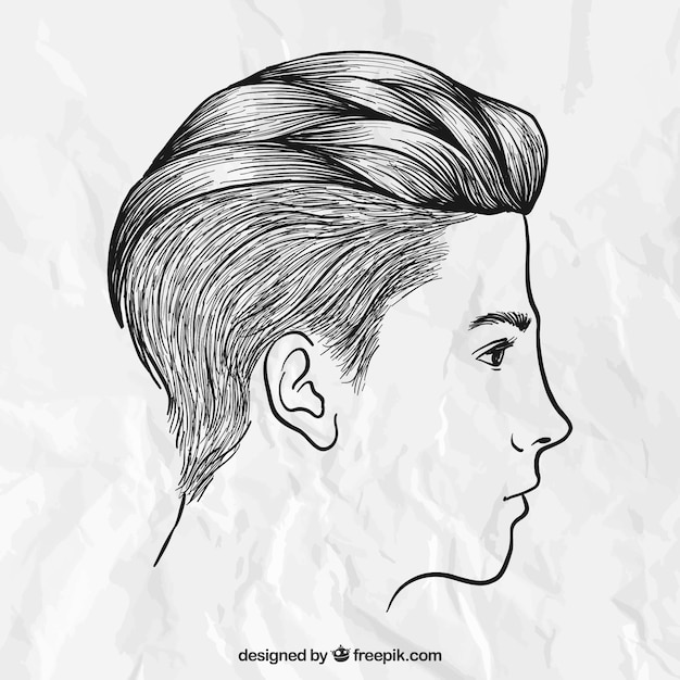 Hand Drawn Male Hairstyle Vector Free Download - Drawing a hairstyle