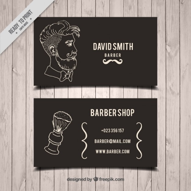 Hand drawn man and brush barber shop\ card