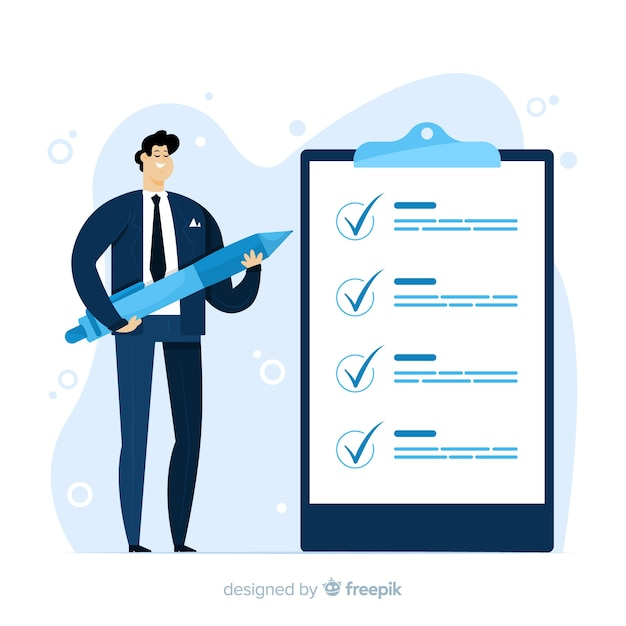 Hand drawn man ckecking big checklist illustration Free Vector