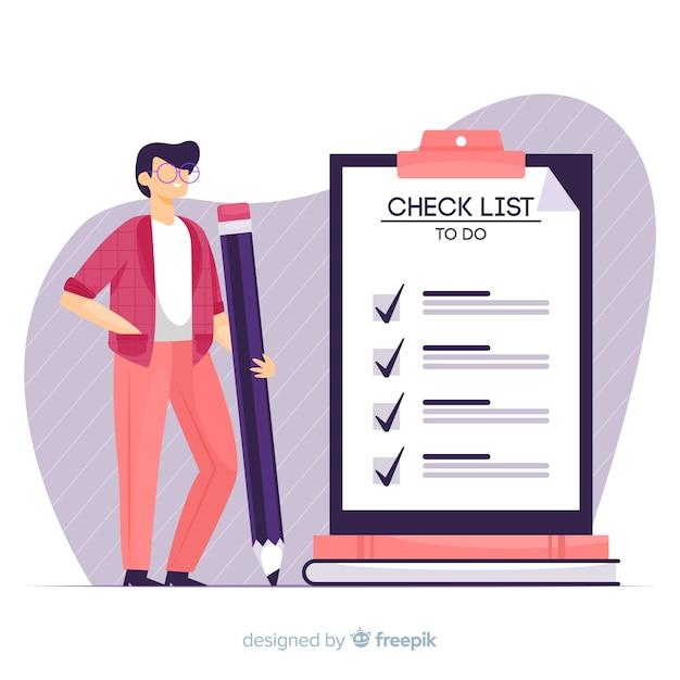 Hand drawn man ckecking big checklist illustration Free Vector