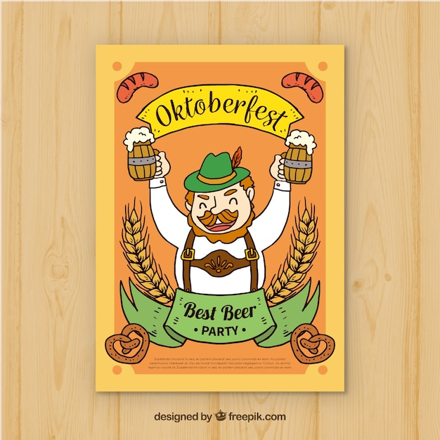 Hand drawn man drinking beer in oktoberfest