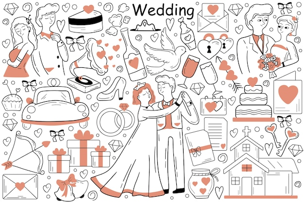 Hand drawn of man groom woman in marriage ceremony at church together Premium Vector