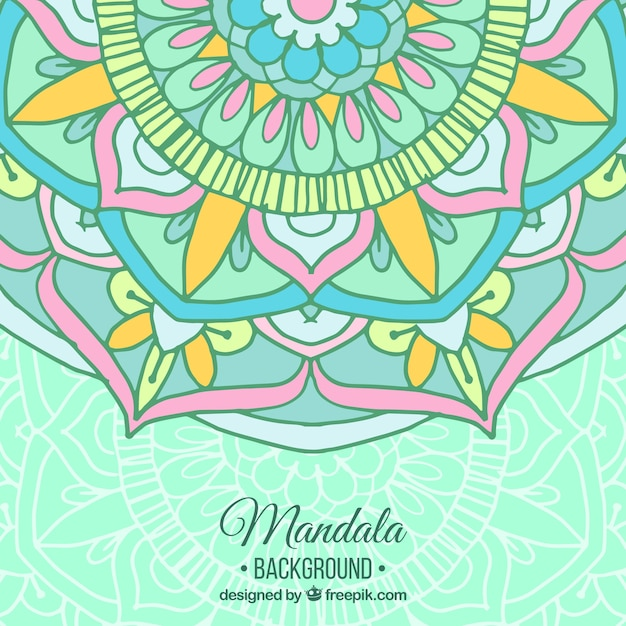hand drawn mandala background in pastel color vector free download