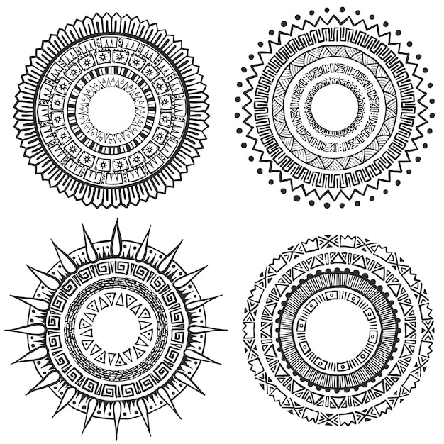 Hand drawn mandala collection Free Vector