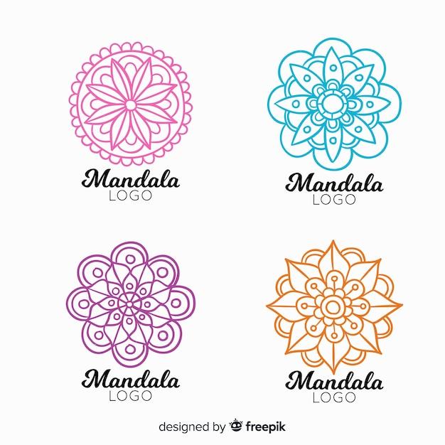 Hand drawn mandala logo collection Free Vector