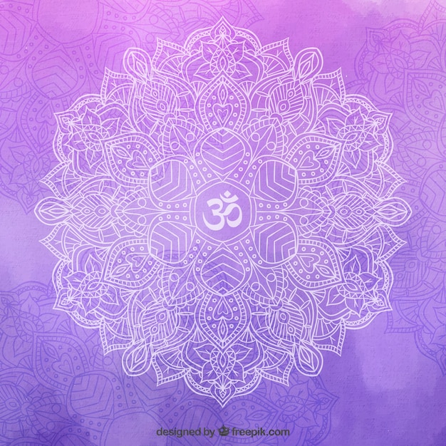Hand drawn mandala on a purple background Free Vector