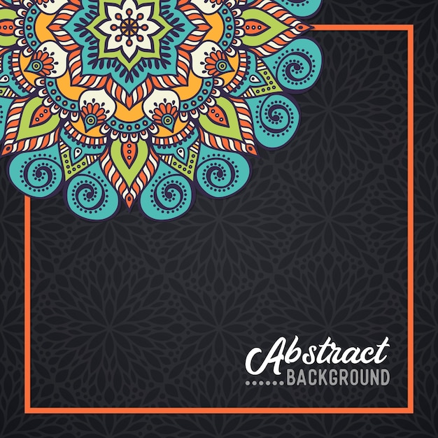 Hand-drawn mandala on the watercolor background Free Vector