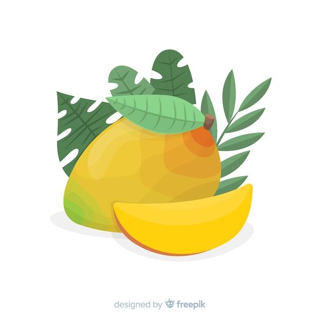 Hand drawn mango background Free Vector
