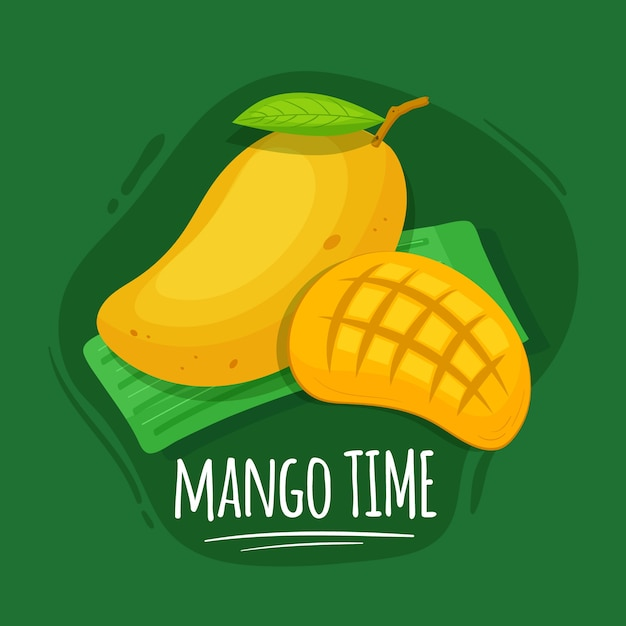 Hand drawn mango background Free Vector
